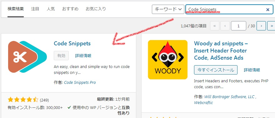 codesnippetsインストール画面