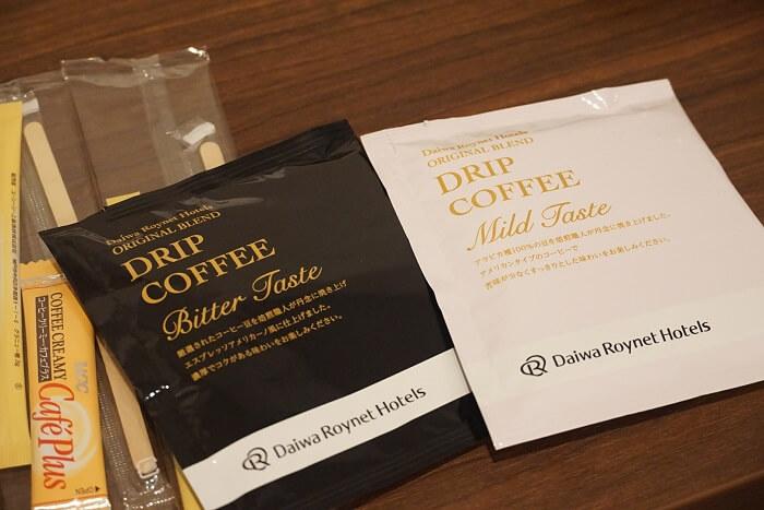 ダイワロイネットホテル仙台一番町 フロントでもらえるドリップコーヒー